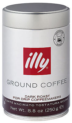 Illy Ground Coffee Rich Dark Roast for Drip Coffeemakers 8.8 Ounce Each