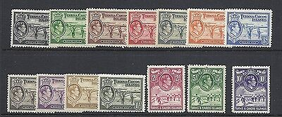 TURKS and CAICOS 1938 KGVI definitives (Sc 194-205 complete) VF MH
