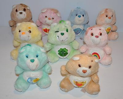 COLLECTION of 10 vintage 6 inch Care Bears PLUSH DOLL lot 1980s Kenner - rj