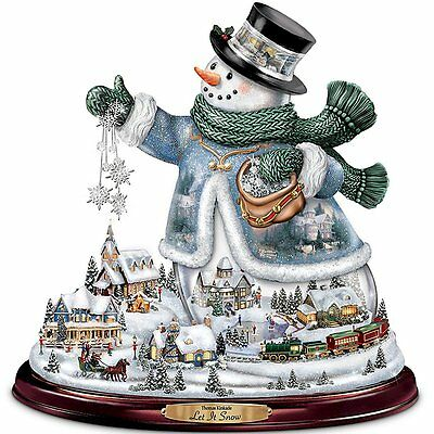 Thomas Kinkade Let It Snow Centerpiece Snowman Lights Animated Train Musical NEW