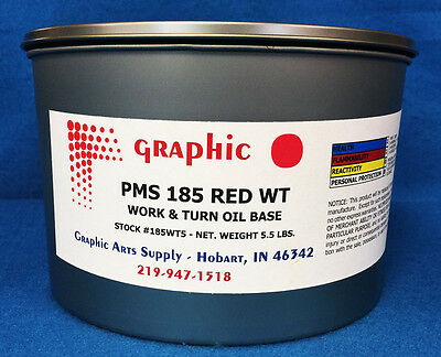 Pms 185 Red Offset Ink - Work & Turn Oil Base Ink 5.5 Lb Vacuum Packed Can
