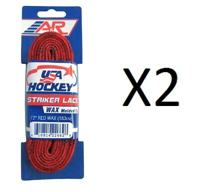 A&R Sports USA Hockey Laces - Waxed Striker Laces - Red 72 Inches (2-Pack)