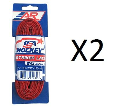 "A&R Striker Ice Hockey Waxed Skate Laces Pro Heavy Duty Lace Red 72"" (2-Pack)"