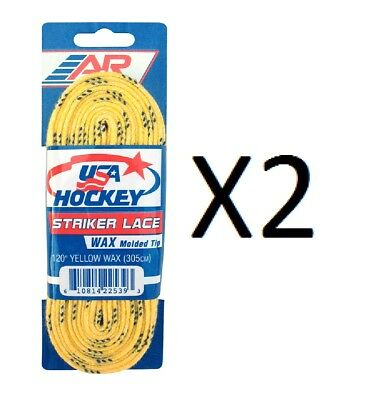 "A&R Striker Ice Hockey Waxed Skate Laces Heavy Duty Lace Yellow 120"" (2-Pack)"