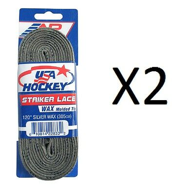 "A&R Striker Ice Hockey Waxed Skate Laces Pro Heavy Duty Silver 120"" (2-Pack)"