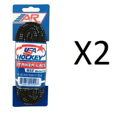 "A&R Striker Ice Hockey Waxed Skate Laces Pro Heavy Duty Lace Black 84"" (2-Pack)"