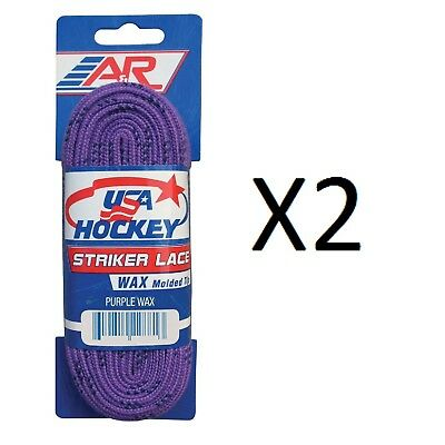 A&R Sports USA Hockey Laces - Waxed Striker Laces - Purple 72 Inches (2-Pack)