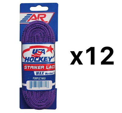 A&R Sports USA Hockey Laces - Waxed Striker Laces - Purple 72 Inches (12-Pack)