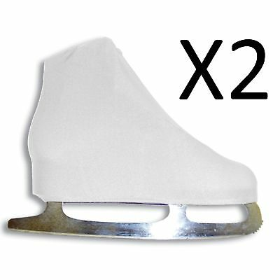 A&R Universal Figure Skate Cover Lycra Stretch Ice Skate White 5 SCW (2-Pack)