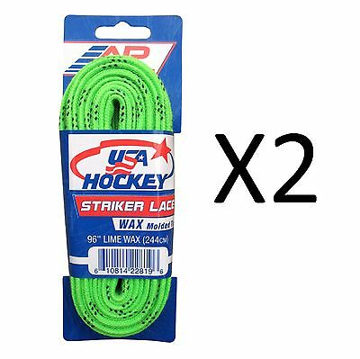 "A&R Striker Ice Hockey Waxed Skate Laces Pro Heavy Duty Lime 96"" (2-Pack)"