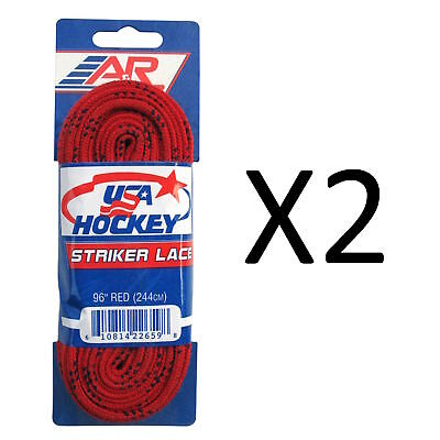 A&R Sports USA Hockey Laces - Non-Waxed Striker Laces - Red 96 Inches (2-Pack)