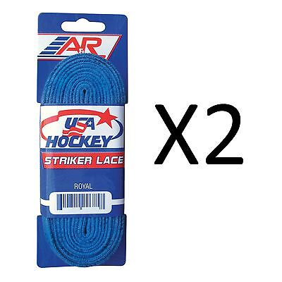 A&R Sports USA Hockey Laces - Non-Waxed Striker Laces - Royal 108 Inch (2-Pack)