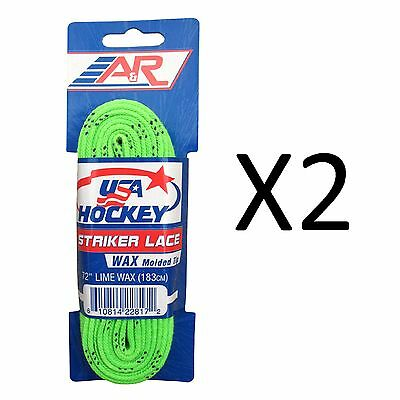 """A&R Striker Ice Hockey Waxed Skate Laces Pro Heavy Duty Lace Lime 72"""" (2-Pack)"""