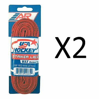 A&R Sports USA Hockey Laces - Waxed Striker Laces - Red 108 Inches (2-Pack)