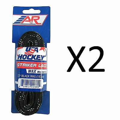 A&R Sports USA Hockey Laces - Waxed Striker Laces - Black 72 Inches (2-Pack)