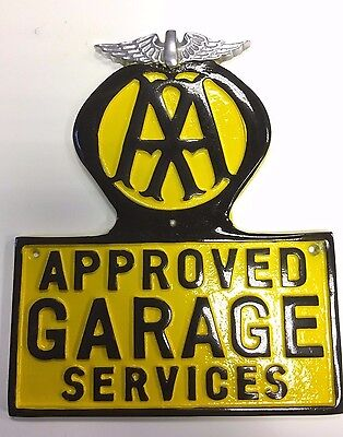 AA cast sign ,Vintage AA garage sign in cast metal with polished wings ,AA Logo