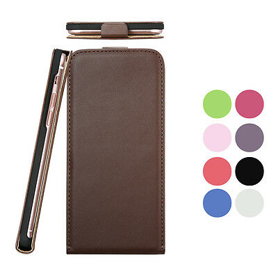 Fashion Genuine Real Leather Case Vertical Flip Cover For iPhone Samsung