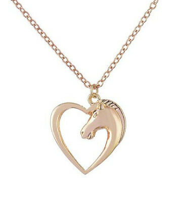 Horse & Western  Jewellery Jewelry Ladies Womens Heart Horse Necklace Gold