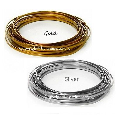 3mm Wide 3m Length Flat Wire Aluminium Craft DIY Florist Decor GOLD or SILVER