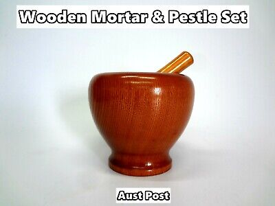 NEW Wooden Mortar and Pestle Set - For Kitchen Grinding, Mixing, Crushing (D34)