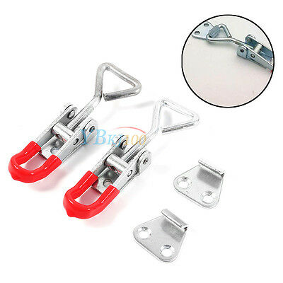 New 2Pcs Cabinet Drawer Closet Metal Lever Handle Toggle Catch Latch Lock Clamp