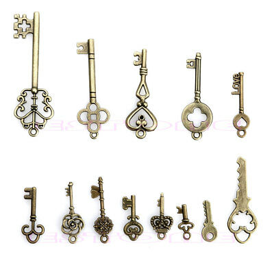 13 Antique Vintage Old Look Skeleton Keys Lot Bronze Tone Pendants  Mix Jewelry