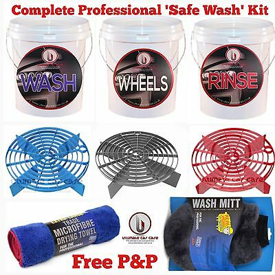3 x Car Wash Buckets 16L, Grit Guards/Shields, Stickers, Drying Towel, Wash Mitt