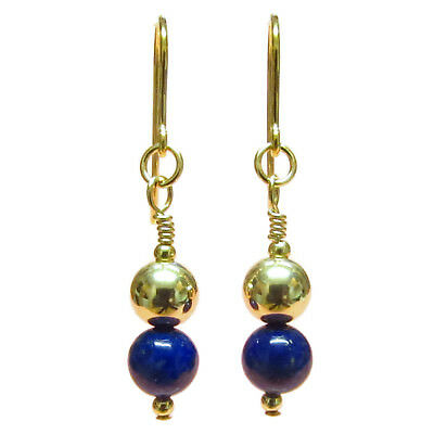 9ct Gold Ball Earrings Drops with Genuine Lapis Lazuli Gemstone Beads