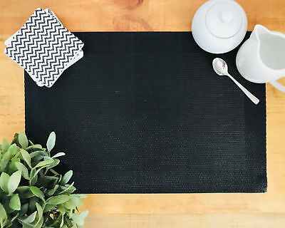 NEW Set of 4 Black Mesh Rectangle Placemats
