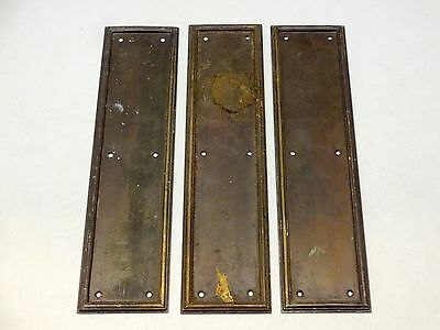 Set Of 3 Reclaimed Gibbons Of Wolverhampton Finger Door Push Plates Fingerplate