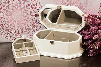 White Wooden Jewellery Box Drawer Case/Cabinet/Trinket Mirror Christmas Gift NEW