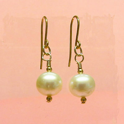 9ct Gold Drop Earrings Genuine Natural 10 mm White Pearls and Gold Beads