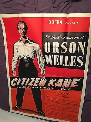 Citizen Kane R1950 Giant French Movie Poster Orson Welles, Charles Foster Kane
