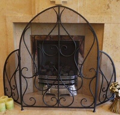 Vintage Gothic Style Black Metal Ornate Mesh Arch Arched Fire Guard Screen NEW