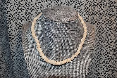 "Vintage 1970s Puka Shell Necklace White Natural Hawaiian Smooth Round 16"" Surfer"
