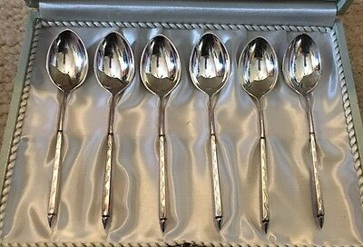 Vintage STERLING SILVER SPOON SET 6 Demitasse Demi  W&S Sorensen Denmark BOX