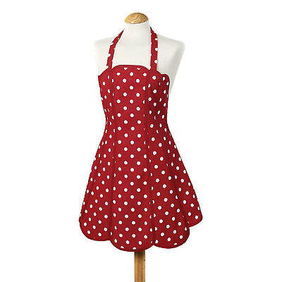 Belle Polka Red White Dots Panelled Kitchen Apron - 100% Cotton
