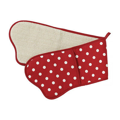 Belle Dotted Polka Red Double Oven Glove - 100% Cotton - Made in the UK