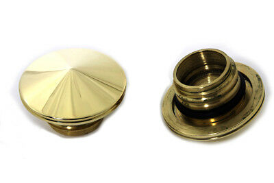 Peaked Brass Gas Cap Set for 1996 & up Harley Softail