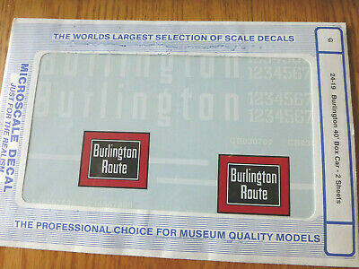 Microscale Decal G #24-19  Chicago Burlington & Quincy 40' Boxcar - Chinese Red