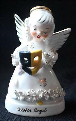 "Vintage 50s NAPCO Porcelain OCTOBER ANGEL w THESPIAN MASK 4 1/2""h Figurine A1370"