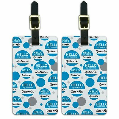 Luggage Suitcase Carry-On ID Tags Set of 2 Hello My Name Is Qu-Qu
