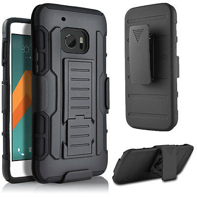 For HTC ONE M8 M9 M10 Hybrid Rubber Shockproof Belt Clip Holster Hard Case Cover