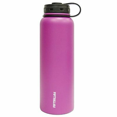 Fifty/Fifty Pink Vacuum-Insulated Stainless Steel Bottle with Wide Mouth - 40