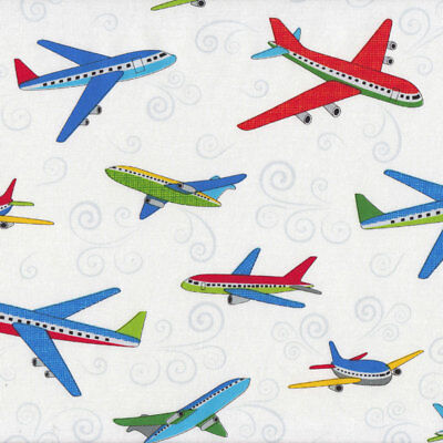 Flying Passanger Planes on White Boys Kids Quilt Fabric FQ or Metre *New*