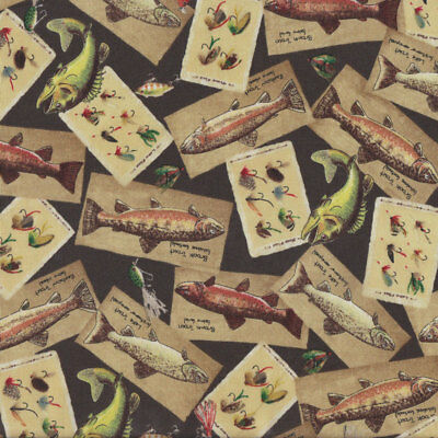 Trophy Trout Fly Fishing Wildlife on Black Quilt Fabric FQ or Metre *New*