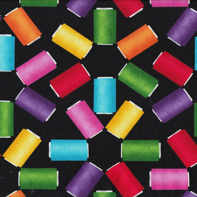 Colourful Cotton Reels Sewing Thread on Black Quilt Fabric FQ or Metre *New*