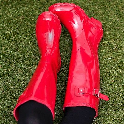 Adjustable Buckle Flat Festival Wellies Rain Boots Red Gloss Sz 5