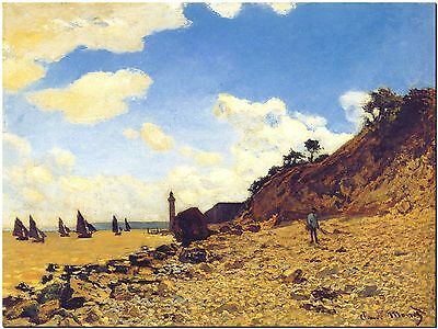 """Cliff at Grainval by Claude Monet Canvas Print Poster 36/"""" X 24/"""""""