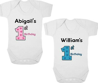 PERSONALISED 1ST BIRTHDAY New Baby Bodysuit/Baby Grow/Vest Birthday Present/Gift